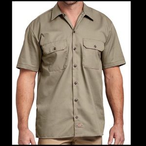 Dickies Large Khaki Short Sleeve Work Shirt